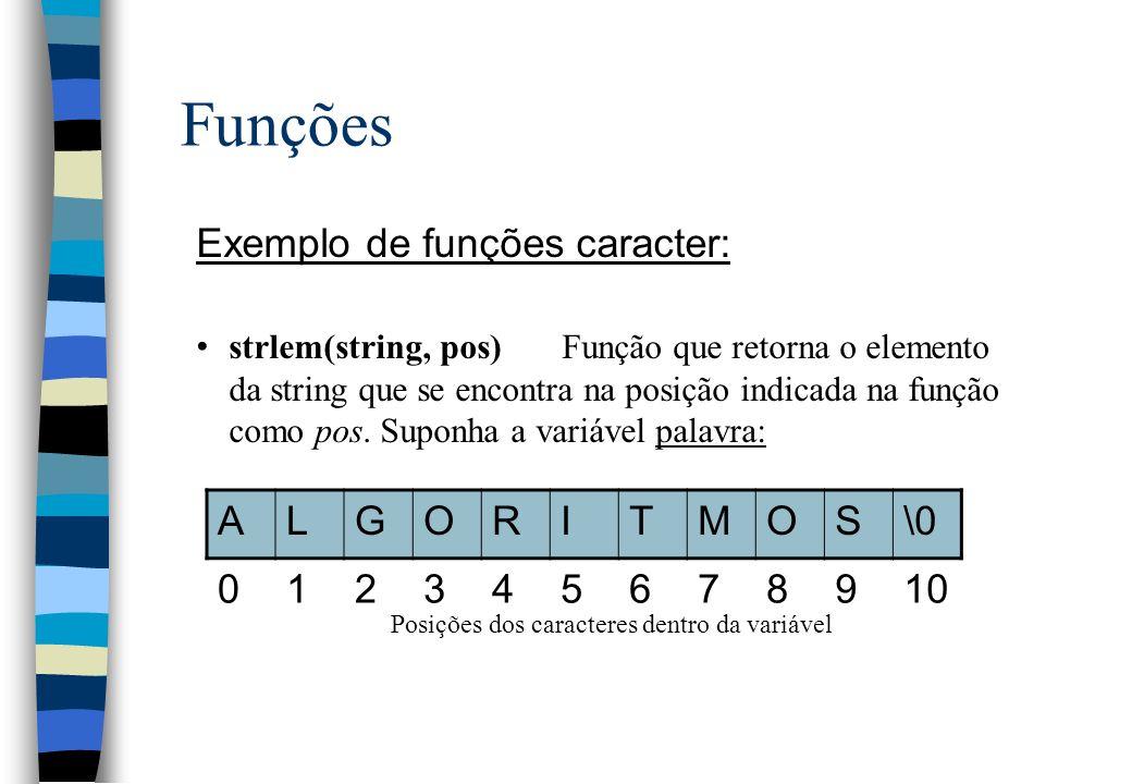 Funções Exemplo de funções caracter: strlem(string, pos)Função que retorna o elemento da string que se encontra na posição indicada na função como pos