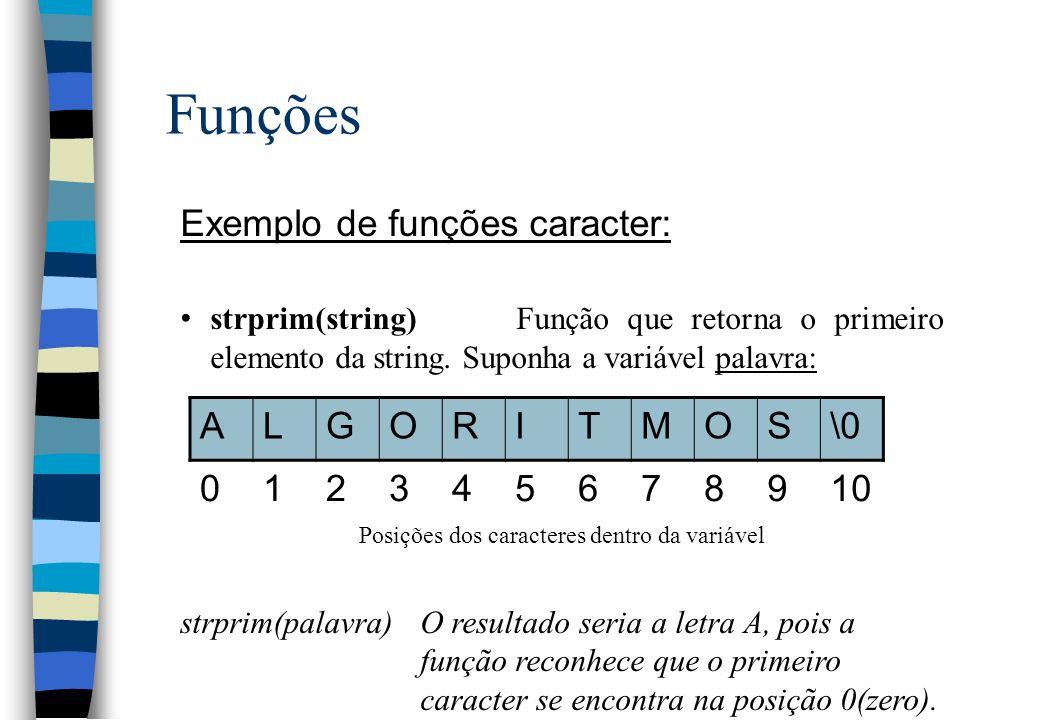 Funções Exemplo de funções caracter: strprim(string)Função que retorna o primeiro elemento da string. Suponha a variável palavra: Posições dos caracte