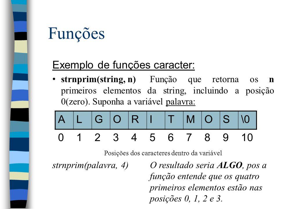 Funções Exemplo de funções caracter: strnprim(string, n)Função que retorna os n primeiros elementos da string, incluindo a posição 0(zero). Suponha a