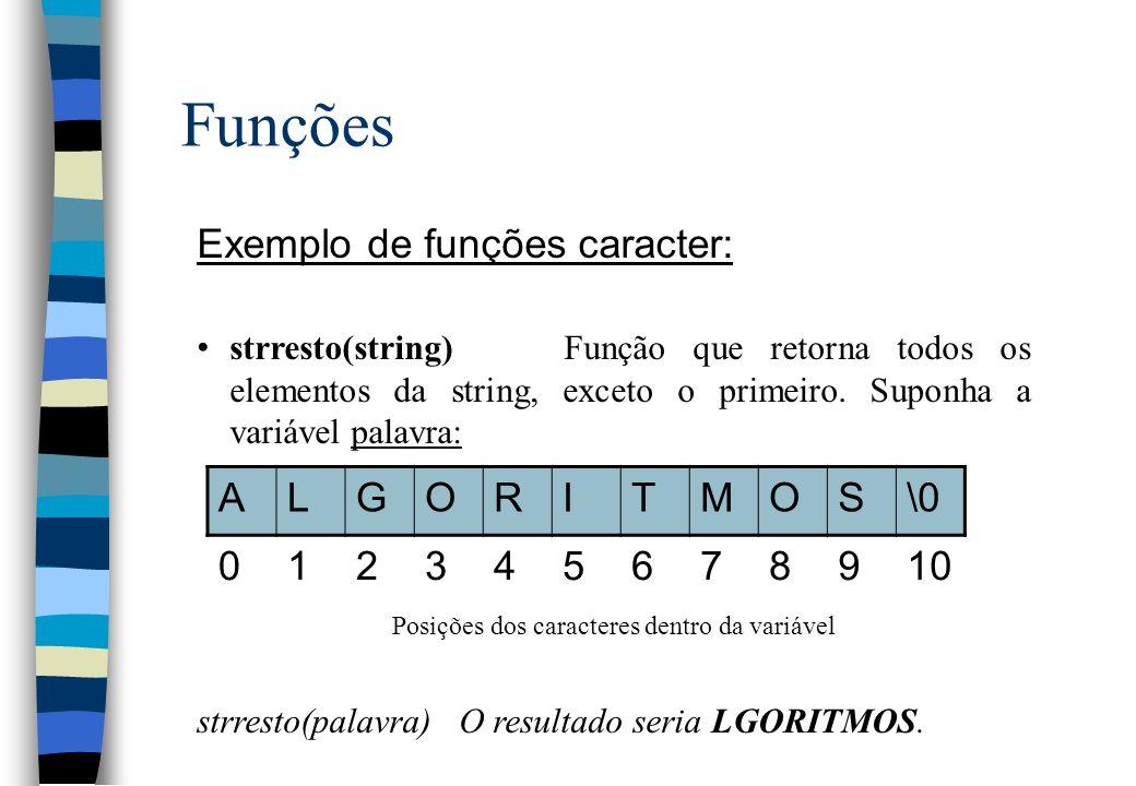 Funções Exemplo de funções caracter: strresto(string)Função que retorna todos os elementos da string, exceto o primeiro. Suponha a variável palavra: P