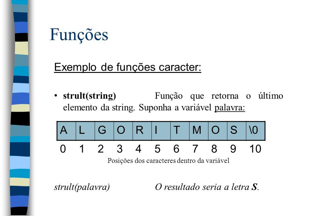 Funções Exemplo de funções caracter: strult(string)Função que retorna o último elemento da string. Suponha a variável palavra: Posições dos caracteres