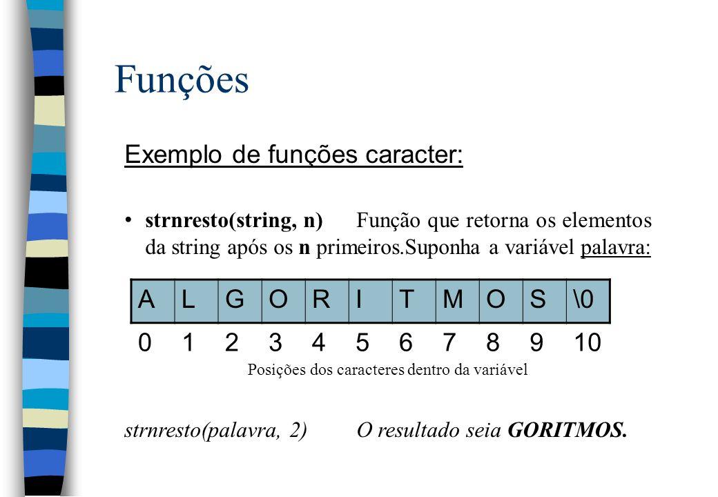 Funções Exemplo de funções caracter: strnresto(string, n)Função que retorna os elementos da string após os n primeiros.Suponha a variável palavra: Pos