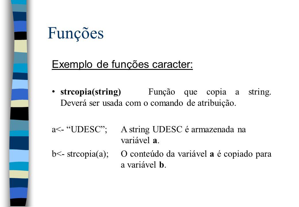 Funções Exemplo de funções caracter: strcopia(string)Função que copia a string. Deverá ser usada com o comando de atribuição. a<- UDESC;A string UDESC