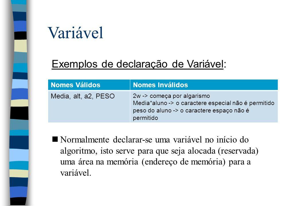 Variável Exemplos de declaração de Variável: nNormalmente declarar-se uma variável no início do algoritmo, isto serve para que seja alocada (reservada