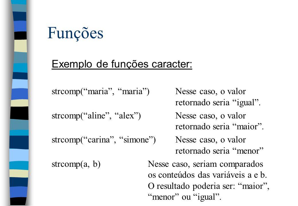 Funções Exemplo de funções caracter: strcomp(maria, maria)Nesse caso, o valor retornado seria igual. strcomp(aline, alex)Nesse caso, o valor retornado