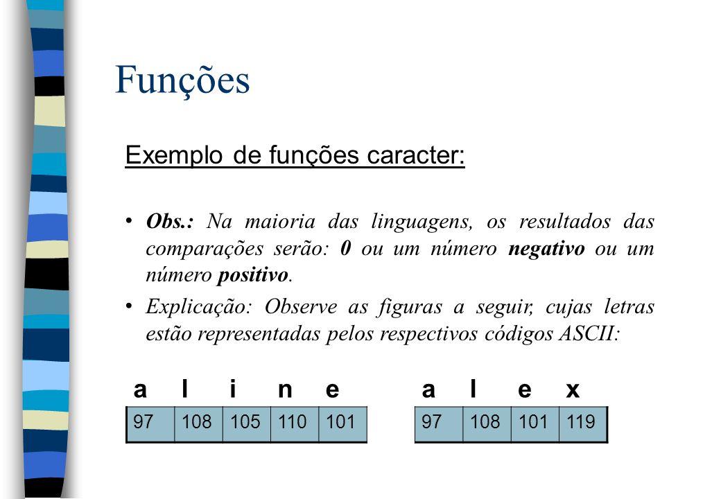 Funções Exemplo de funções caracter: Obs.: Na maioria das linguagens, os resultados das comparações serão: 0 ou um número negativo ou um número positi