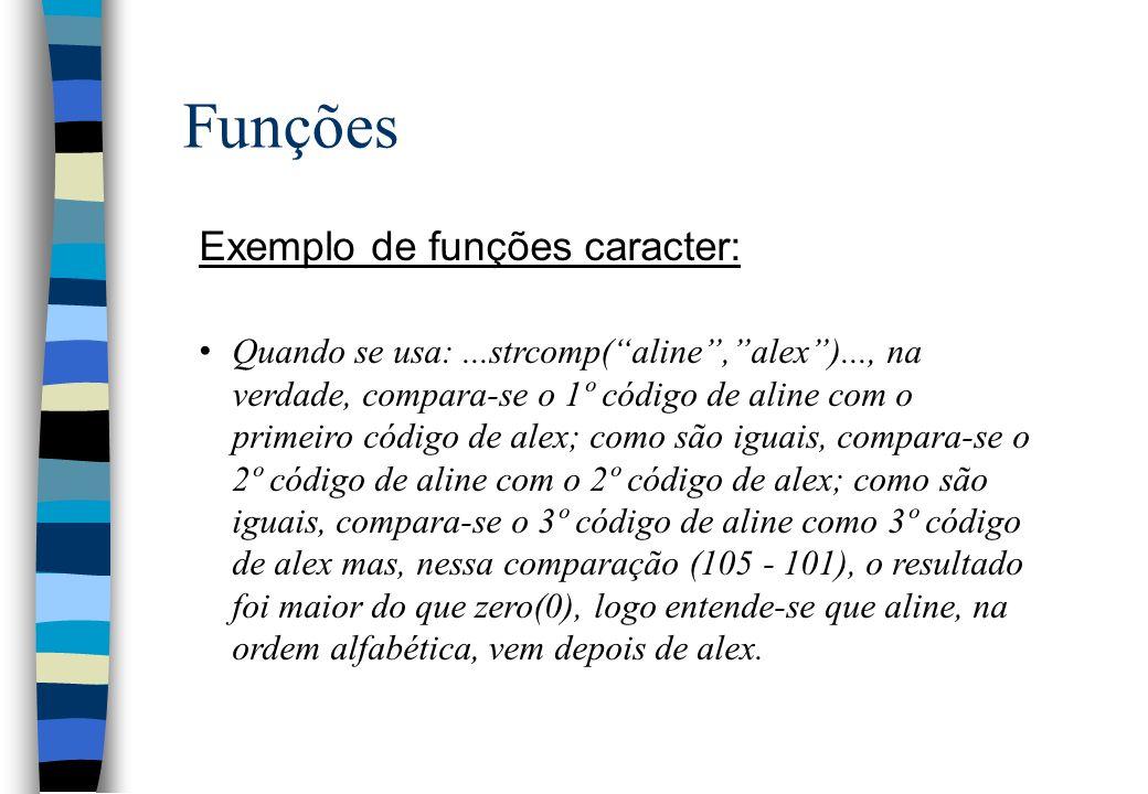 Funções Exemplo de funções caracter: Quando se usa:...strcomp(aline,alex)..., na verdade, compara-se o 1º código de aline com o primeiro código de ale