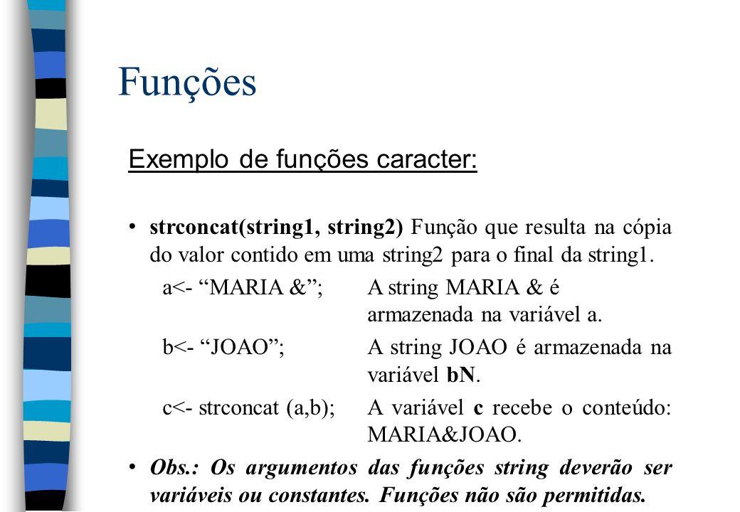 Funções Exemplo de funções caracter: strconcat(string1, string2) Função que resulta na cópia do valor contido em uma string2 para o final da string1.