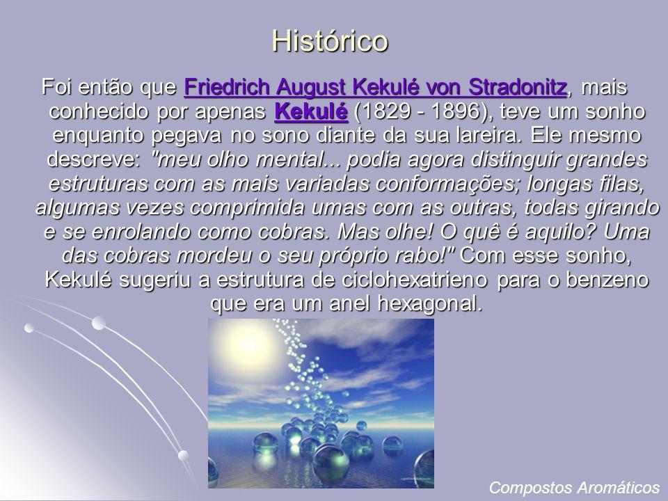 Histórico Foi então que Friedrich August Kekulé von Stradonitz, mais conhecido por apenas Kekulé (1829 - 1896), teve um sonho enquanto pegava no sono diante da sua lareira.