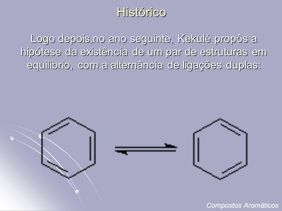 Histórico Logo depois,no ano seguinte, Kekulé propôs a hipótese da existência de um par de estruturas em equilíbrio, com a alternância de ligações duplas: Compostos Aromáticos