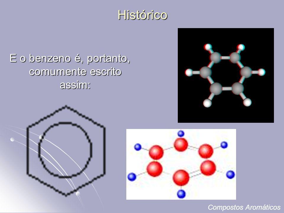 Histórico E o benzeno é, portanto, comumente escrito assim: Compostos Aromáticos