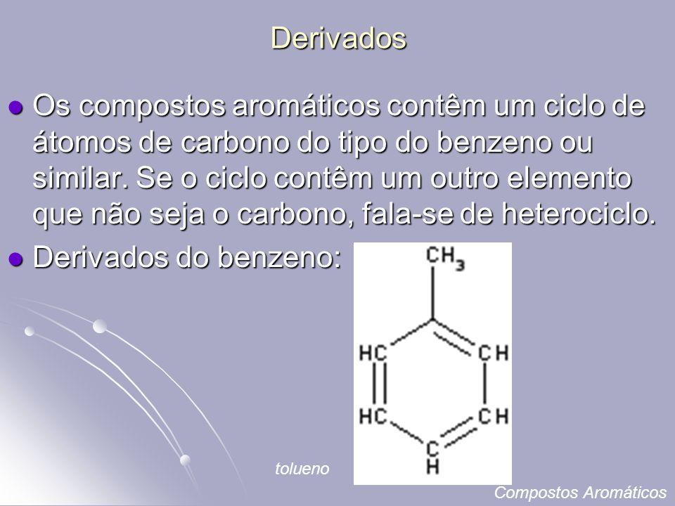 Derivados Os compostos aromáticos contêm um ciclo de átomos de carbono do tipo do benzeno ou similar.