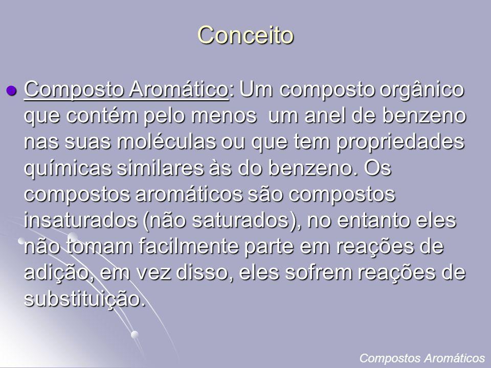Conceito Composto Aromático: Um composto orgânico que contém pelo menos um anel de benzeno nas suas moléculas ou que tem propriedades químicas similares às do benzeno.
