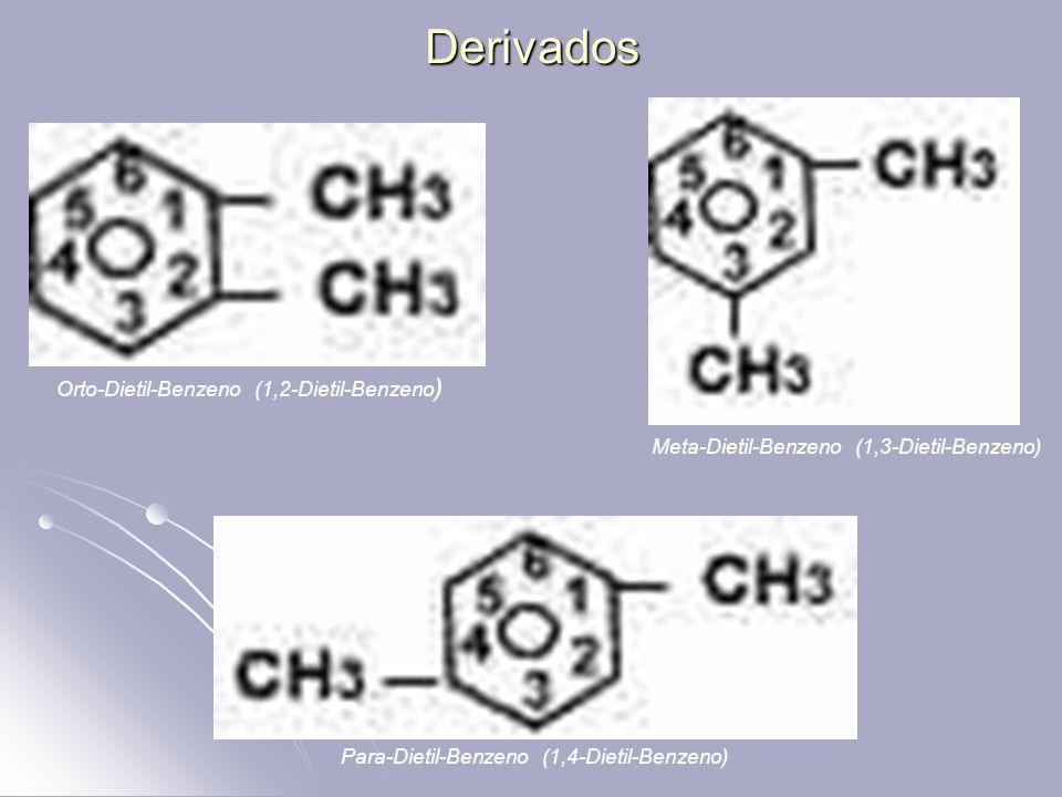 Derivados Orto-Dietil-Benzeno (1,2-Dietil-Benzeno ) Meta-Dietil-Benzeno (1,3-Dietil-Benzeno) Para-Dietil-Benzeno (1,4-Dietil-Benzeno)