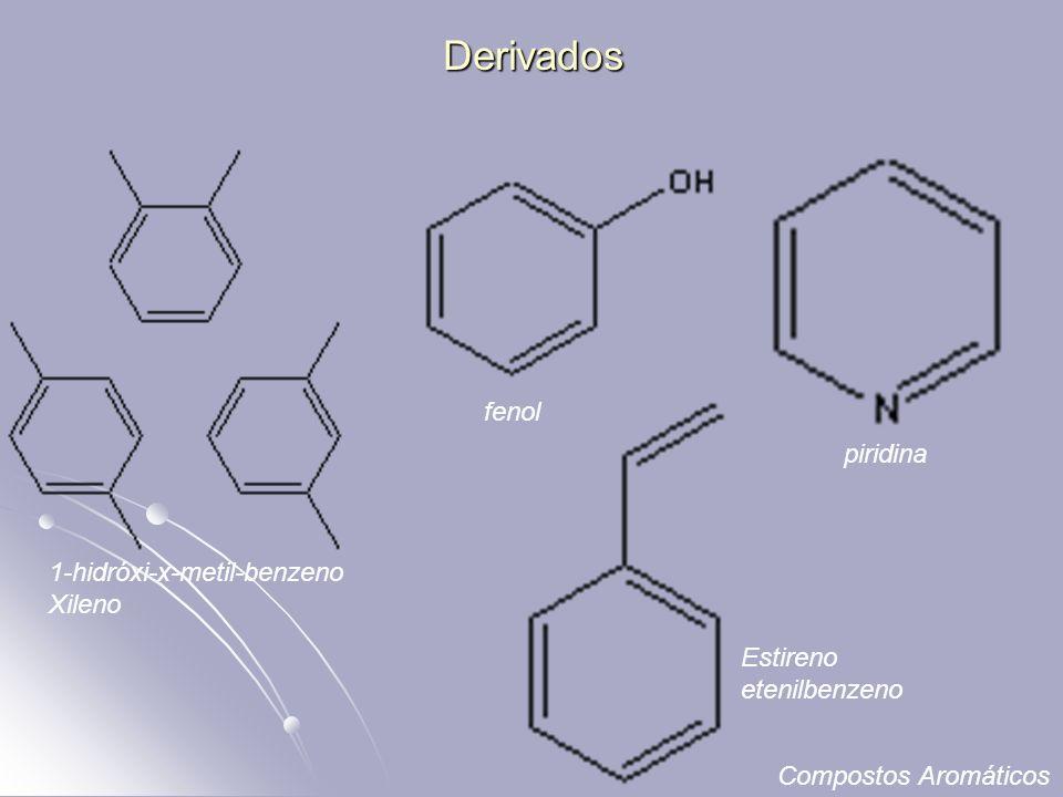 Derivados 1-hidróxi-x-metil-benzeno Xileno piridina fenol Estireno etenilbenzeno Compostos Aromáticos