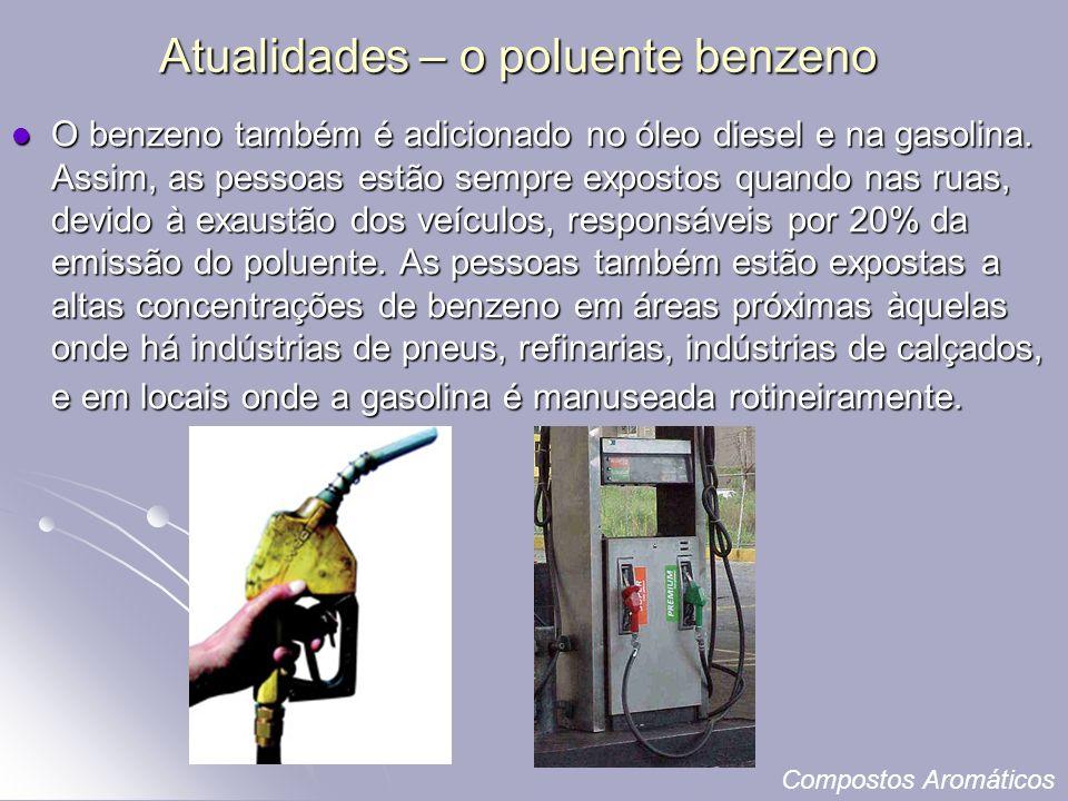 Atualidades – o poluente benzeno O benzeno também é adicionado no óleo diesel e na gasolina.