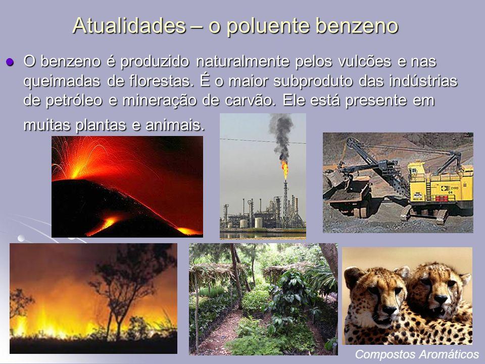 Atualidades – o poluente benzeno O benzeno é produzido naturalmente pelos vulcões e nas queimadas de florestas.