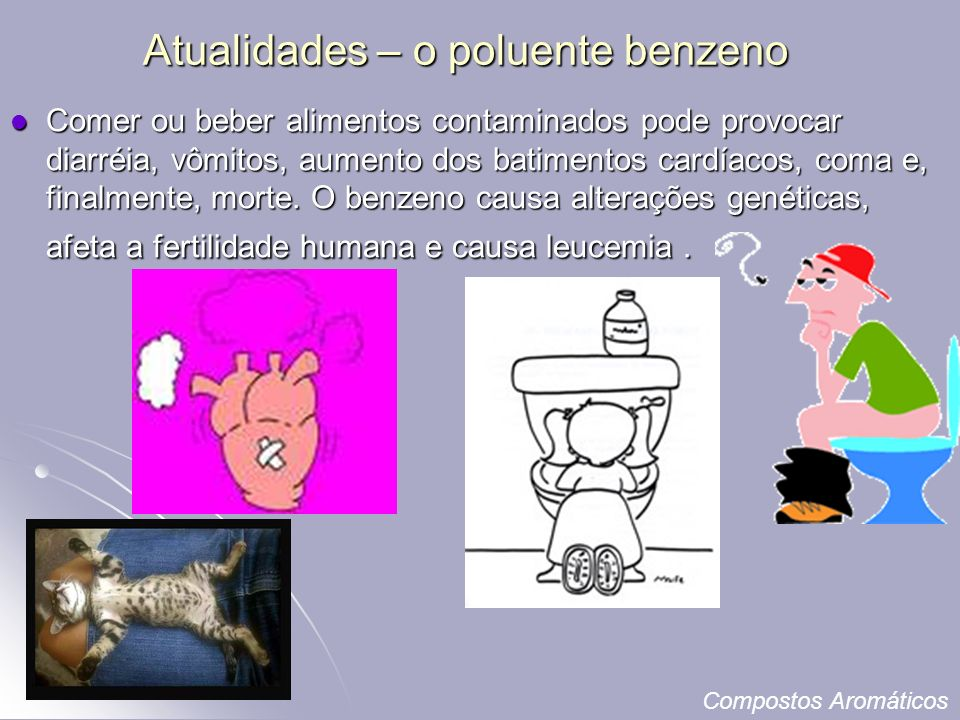 Atualidades – o poluente benzeno Comer ou beber alimentos contaminados pode provocar diarréia, vômitos, aumento dos batimentos cardíacos, coma e, finalmente, morte.