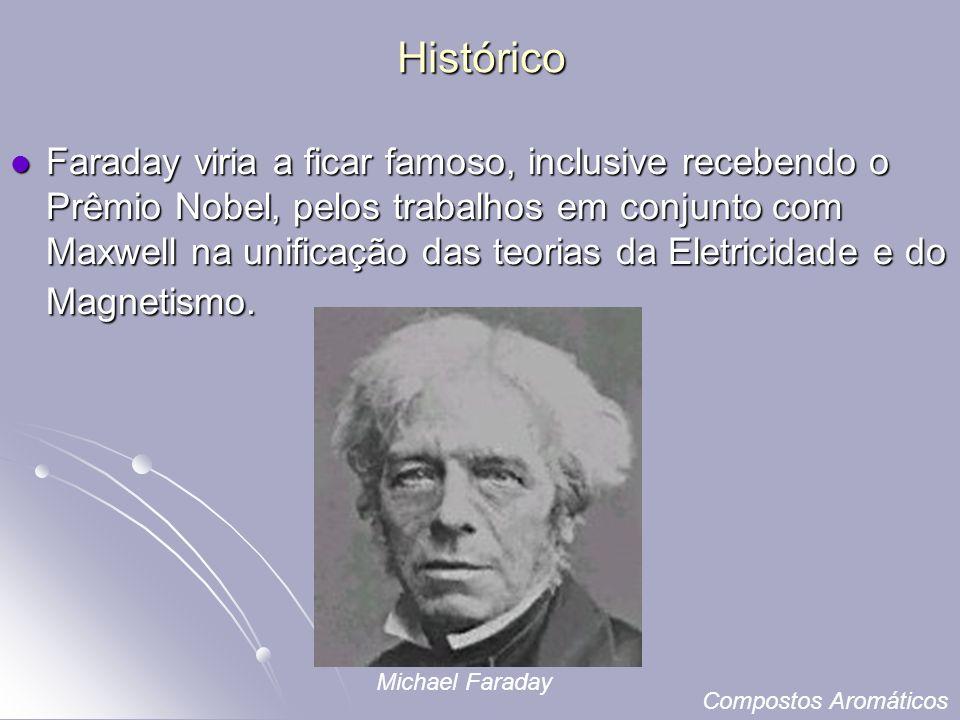 Histórico Faraday viria a ficar famoso, inclusive recebendo o Prêmio Nobel, pelos trabalhos em conjunto com Maxwell na unificação das teorias da Eletricidade e do Magnetismo.