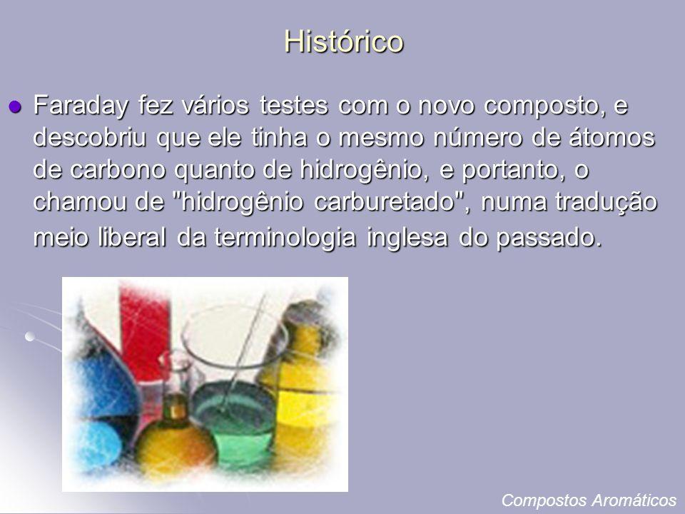 Histórico Faraday fez vários testes com o novo composto, e descobriu que ele tinha o mesmo número de átomos de carbono quanto de hidrogênio, e portanto, o chamou de hidrogênio carburetado , numa tradução meio liberal da terminologia inglesa do passado.
