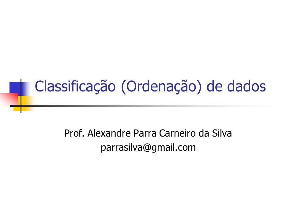 Classificação (Ordenação) de dados Prof. Alexandre Parra Carneiro da Silva parrasilva@gmail.com
