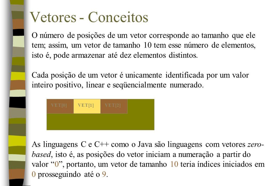 O número de posições de um vetor corresponde ao tamanho que ele tem; assim, um vetor de tamanho 10 tem esse número de elementos, isto é, pode armazenar até dez elementos distintos.