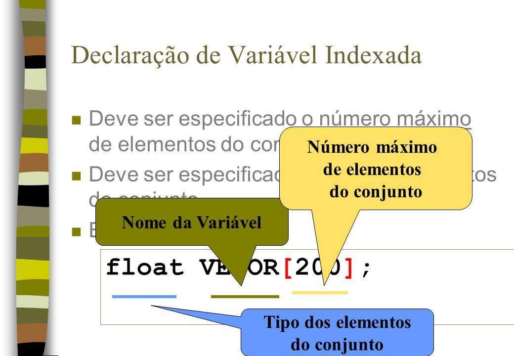 Declaração de Variável Indexada n Deve ser especificado o número máximo de elementos do conjunto n Deve ser especificado o tipo dos elementos do conjunto n Exemplo: float VETOR[200]; Nome da Variável Número máximo de elementos do conjunto Tipo dos elementos do conjunto