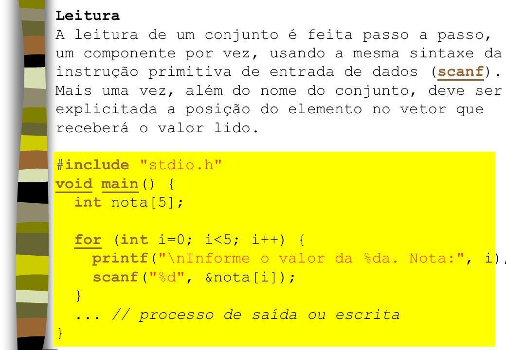 Leitura A leitura de um conjunto é feita passo a passo, um componente por vez, usando a mesma sintaxe da instrução primitiva de entrada de dados (scanf).