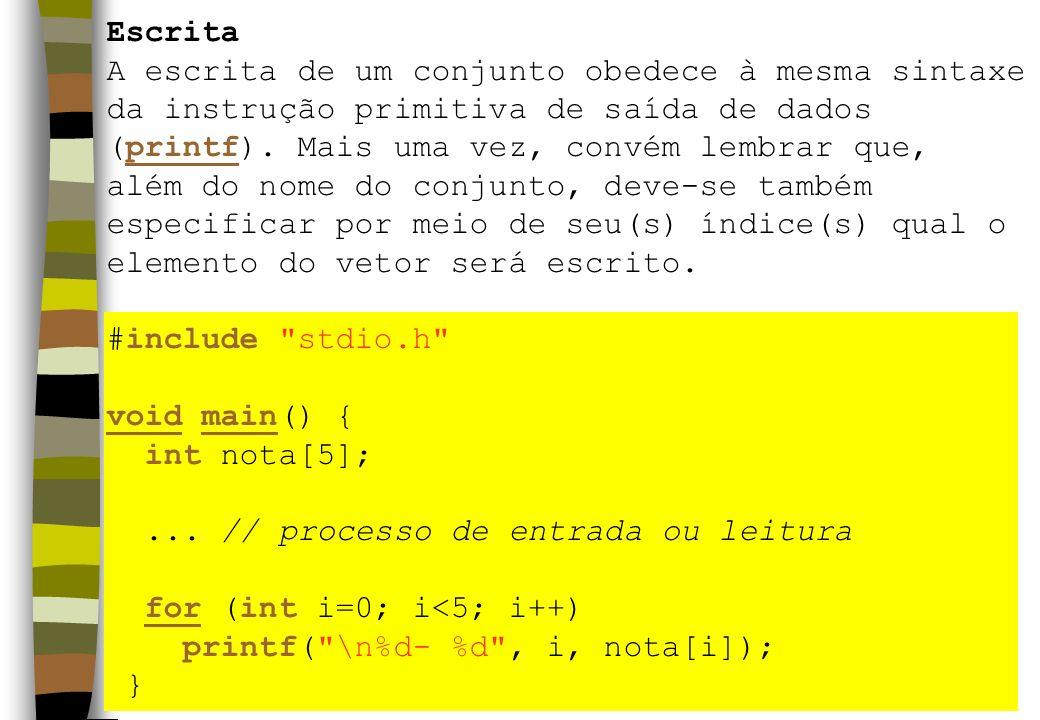 Escrita A escrita de um conjunto obedece à mesma sintaxe da instrução primitiva de saída de dados (printf).