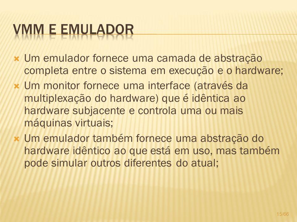 Um emulador fornece uma camada de abstração completa entre o sistema em execução e o hardware; Um monitor fornece uma interface (através da multiplexa