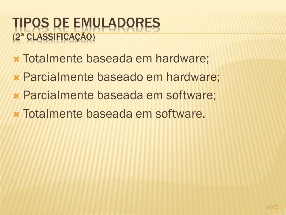Totalmente baseada em hardware; Parcialmente baseado em hardware; Parcialmente baseada em software; Totalmente baseada em software. 19/66