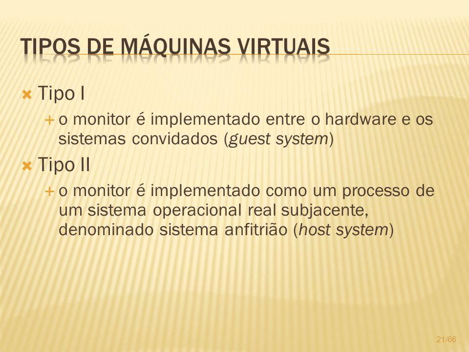 Tipo I o monitor é implementado entre o hardware e os sistemas convidados (guest system) Tipo II o monitor é implementado como um processo de um siste