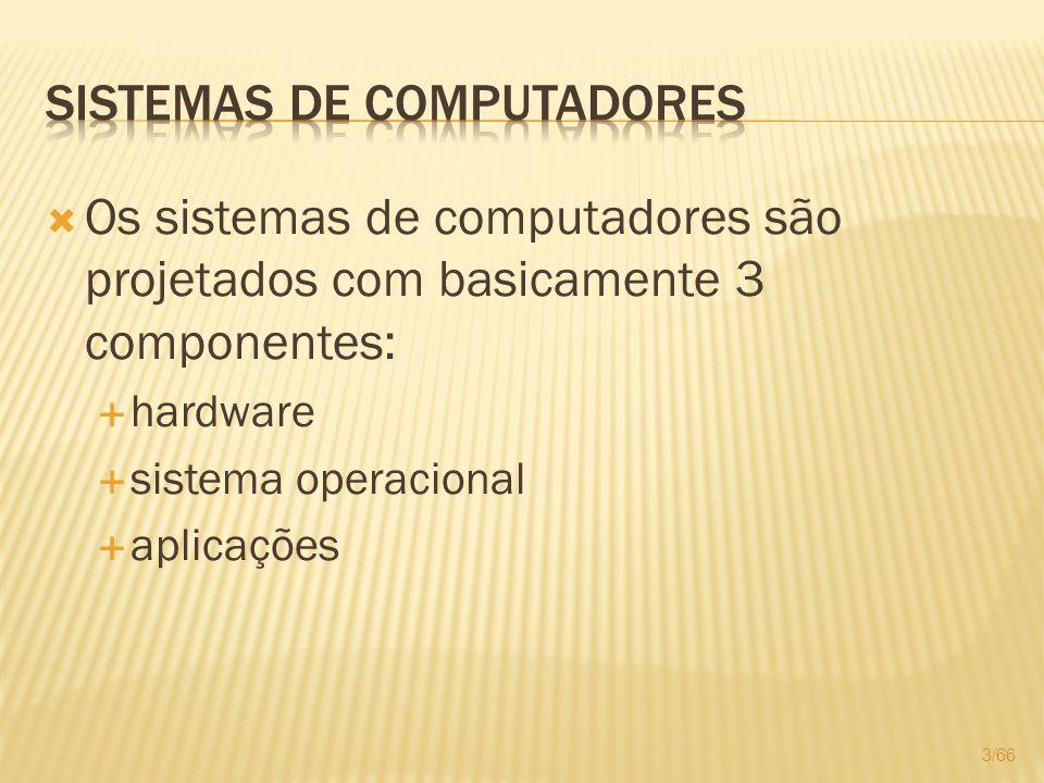 Os sistemas de computadores são projetados com basicamente 3 componentes: hardware sistema operacional aplicações 3/66