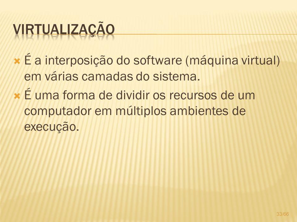 É a interposição do software (máquina virtual) em várias camadas do sistema. É uma forma de dividir os recursos de um computador em múltiplos ambiente