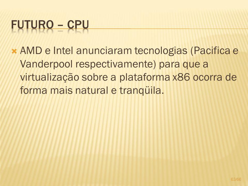 AMD e Intel anunciaram tecnologias (Pacifica e Vanderpool respectivamente) para que a virtualização sobre a plataforma x86 ocorra de forma mais natura
