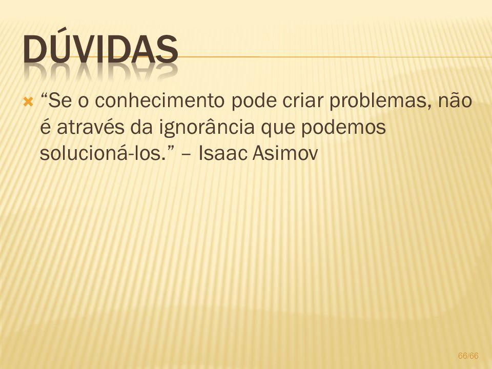 Se o conhecimento pode criar problemas, não é através da ignorância que podemos solucioná-los. – Isaac Asimov 66/66