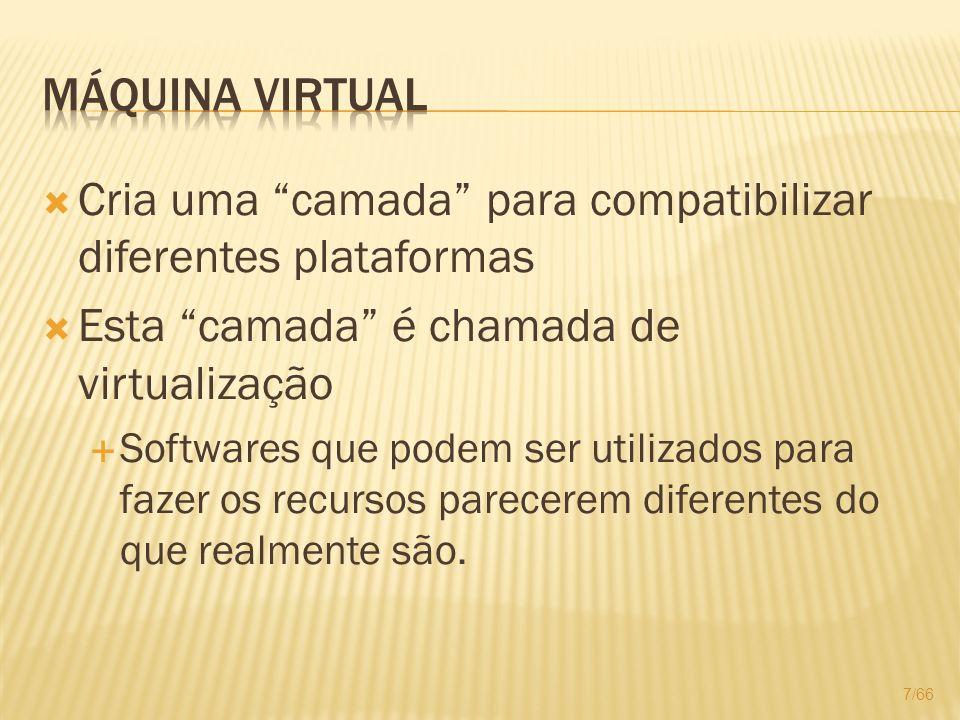 Cria uma camada para compatibilizar diferentes plataformas Esta camada é chamada de virtualização Softwares que podem ser utilizados para fazer os rec