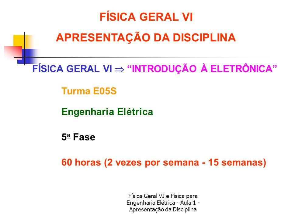 Física Geral VI e Física para Engenharia Elétrica - Aula 1 - Apresentação da Disciplina 72 horas (2 vezes por semana - 18 semanas) FÍSICA PARA ENGENHARIA ELÉTRICA APRESENTAÇÃO DA DISCIPLINA FÍSICA PARA ENGENHARIA ELÉTRICA INTRODUÇÃO À ELETRÔNICA Turma E04 Engenharia Elétrica 4 a Fase