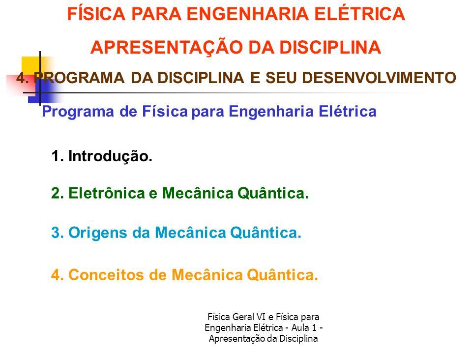 Física Geral VI e Física para Engenharia Elétrica - Aula 1 - Apresentação da Disciplina Programa de Física para Engenharia Elétrica FÍSICA PARA ENGENH