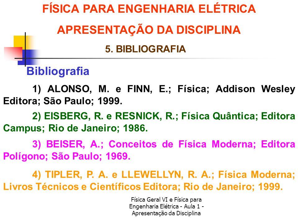 Física Geral VI e Física para Engenharia Elétrica - Aula 1 - Apresentação da Disciplina Bibliografia FÍSICA PARA ENGENHARIA ELÉTRICA APRESENTAÇÃO DA D