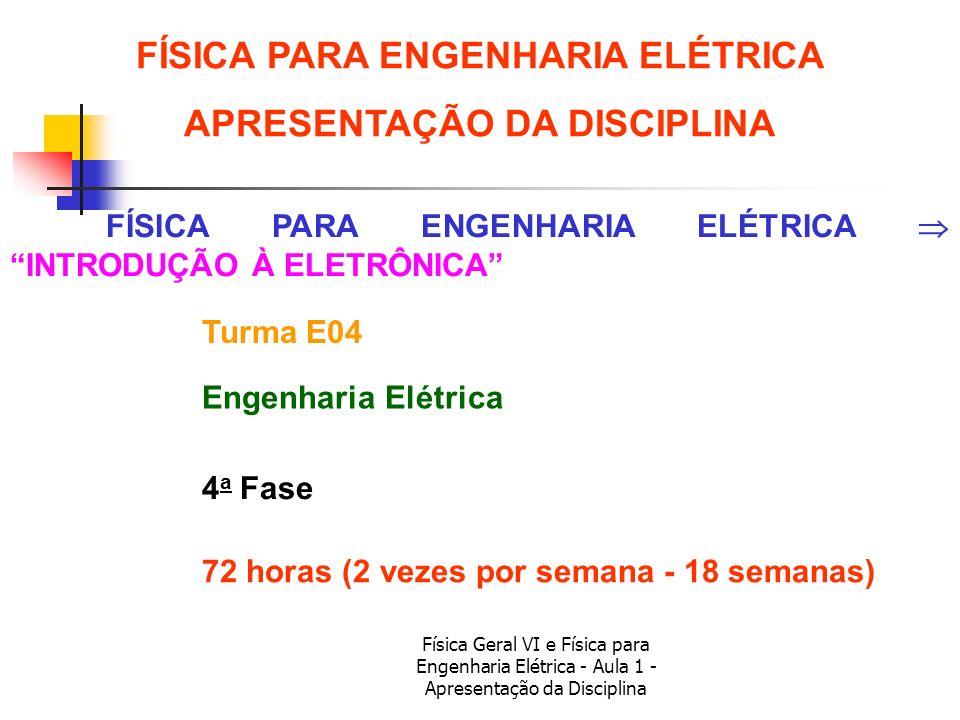 Física Geral VI e Física para Engenharia Elétrica - Aula 1 - Apresentação da Disciplina 72 horas (2 vezes por semana - 18 semanas) FÍSICA PARA ENGENHA