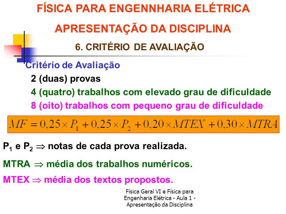 Física Geral VI e Física para Engenharia Elétrica - Aula 1 - Apresentação da Disciplina Critério de Avaliação FÍSICA PARA ENGENNHARIA ELÉTRICA APRESEN