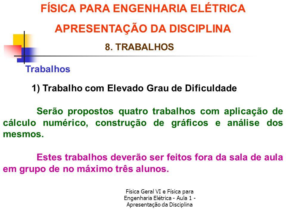 Física Geral VI e Física para Engenharia Elétrica - Aula 1 - Apresentação da Disciplina Trabalhos FÍSICA PARA ENGENHARIA ELÉTRICA APRESENTAÇÃO DA DISC