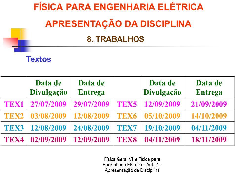 Física Geral VI e Física para Engenharia Elétrica - Aula 1 - Apresentação da Disciplina Textos FÍSICA PARA ENGENHARIA ELÉTRICA APRESENTAÇÃO DA DISCIPL