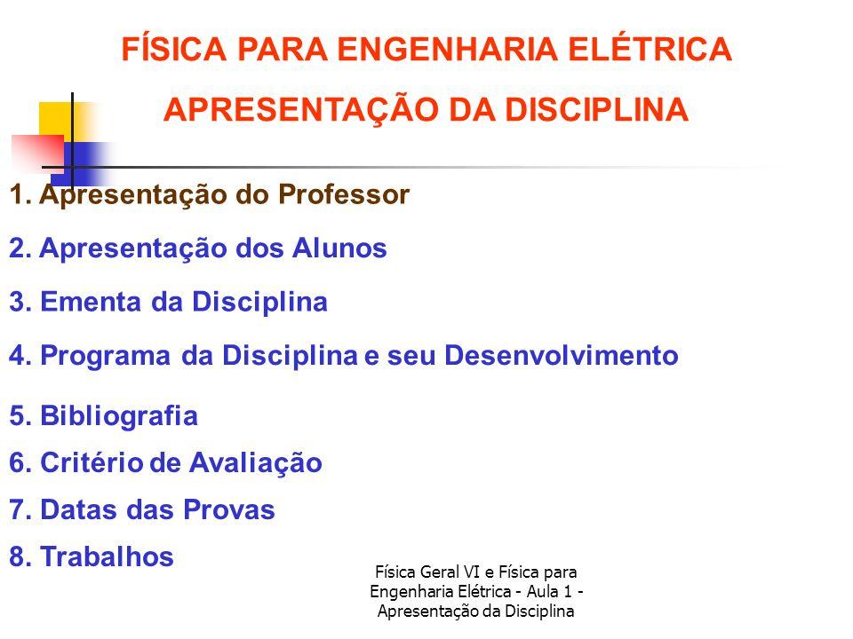 Física Geral VI e Física para Engenharia Elétrica - Aula 1 - Apresentação da Disciplina 1. Apresentação do Professor 6. Critério de Avaliação 2. Apres