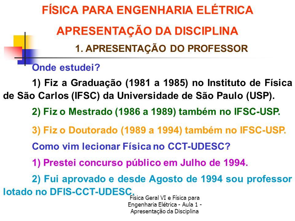 Física Geral VI e Física para Engenharia Elétrica - Aula 1 - Apresentação da Disciplina 1. APRESENTAÇÃO DO PROFESSOR Onde estudei? Como vim lecionar F