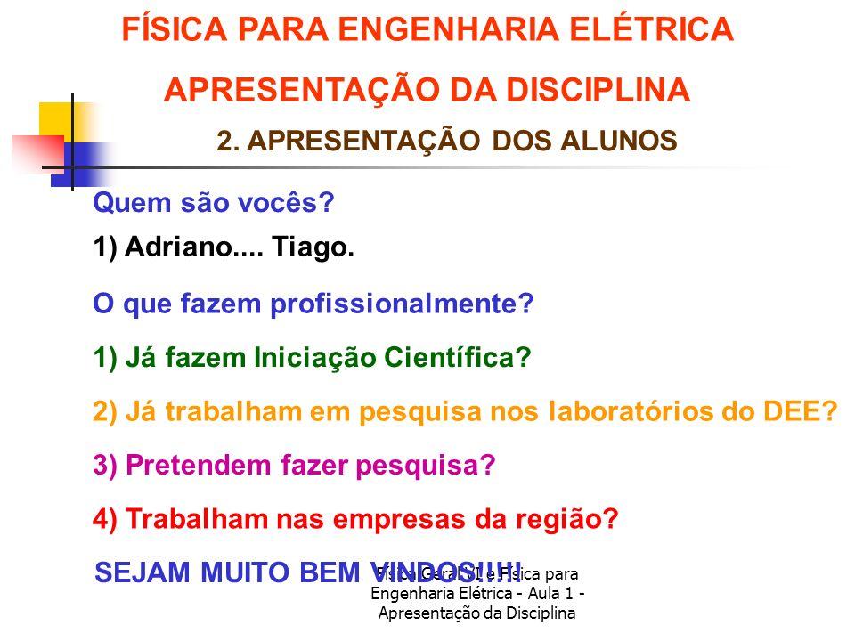 Física Geral VI e Física para Engenharia Elétrica - Aula 1 - Apresentação da Disciplina 2. APRESENTAÇÃO DOS ALUNOS Quem são vocês? O que fazem profiss