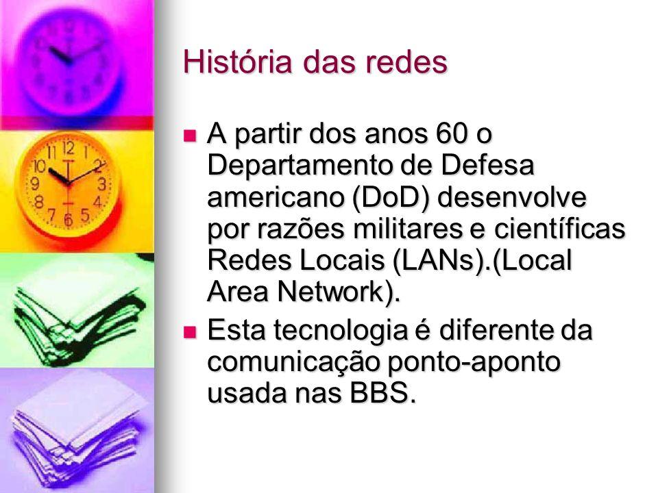 História das redes A partir dos anos 60 o Departamento de Defesa americano (DoD) desenvolve por razões militares e científicas Redes Locais (LANs).(Lo
