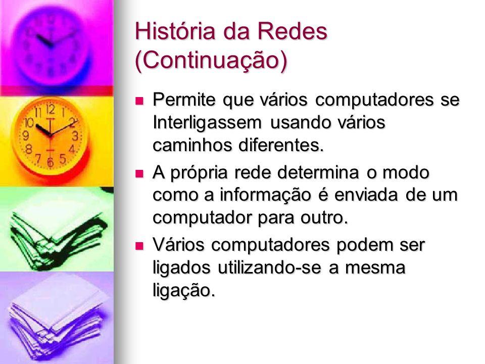 História da Redes (Continuação) Permite que vários computadores se Interligassem usando vários caminhos diferentes. Permite que vários computadores se