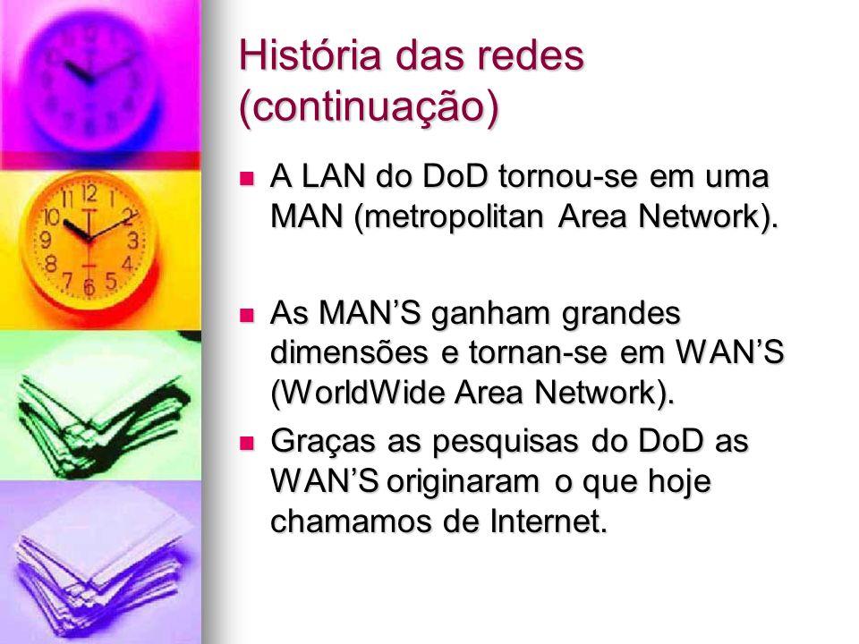História das redes (continuação) A LAN do DoD tornou-se em uma MAN (metropolitan Area Network). A LAN do DoD tornou-se em uma MAN (metropolitan Area N